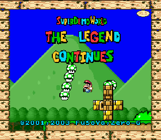 Screenshot Thumbnail / Media File 1 for Super Mario World (USA) [Hack by FuSoYa v1.1] (~Super Demo World - The Legend Continues)